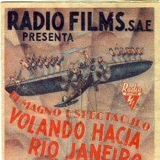 Cine: VOLANDO HACIA RIO JANEIRO. PROGRAMA DOBLE. TEATRO CIRCO DE ALCOY. Lote 211272420