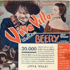 Cine: VIVA VILLA. PROGRAMA SENCILLO GRANDE. TEATRO CIRCO DE ALCOY. Lote 211276931