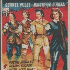 Cine: PROGRAMA DE MANO LA PELÍCULA LOS HIJOS DE LOS MOSQUETERO EN TEATRO PRINCIPAL DE REINOSA DEL AÑO 1953. Lote 211283171