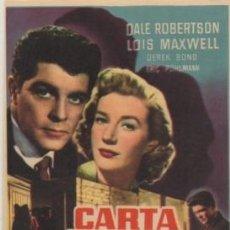 Cine: PROGRAMA DE CINE: CARTA DELATORA. SIN PUBLICIDAD PC-4711. Lote 211387529
