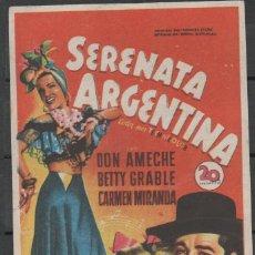 Cine: PROGRAMA DE MANO DE LA PELÍCULA SERENATA ARGENTINA EN EL TEATRO PRINCIPAL DE REINOSA DEL AÑO 1951. Lote 211392326