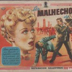 Cine: PROGRAMA DE MANO DE LA PELÍCULA LOS MALHECHORES DE CARSIN EN EL CINE ALAMEDA. Lote 211392732