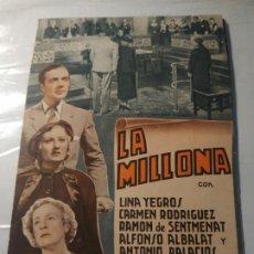 Cine: PROGRAMA DE CINE DOBLE. LA MILLONA. CINE EN DORSO.. Lote 211401645