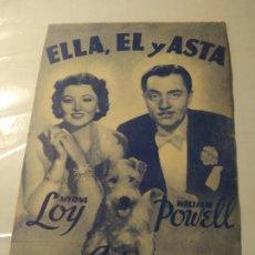 Cine: PROGRAMA DE CINE DOBLE. ELLA, EL Y ASTA. CINE EN DORSO.. Lote 211401699
