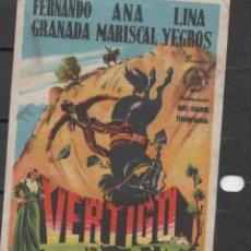 Cine: PROGRAMA DE MANO DE LA PELÍCULA VÉRTIGO EN EL TEATRO PRINCIPAL DE REINOSA DEL AÑO 1952. Lote 211461981