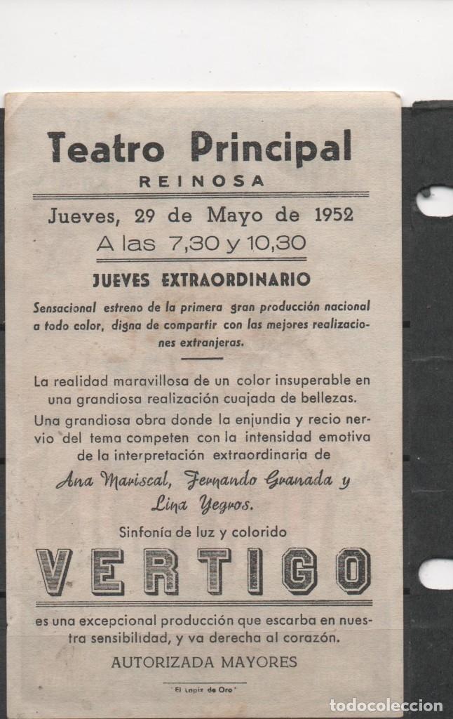 Cine: PROGRAMA DE MANO DE LA PELÍCULA VÉRTIGO EN EL TEATRO PRINCIPAL DE REINOSA DEL AÑO 1952 - Foto 2 - 211461981