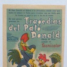 Cine: TRAGEDIAS DEL PATO DONALD WALT DISNEY PROGRAMA DE CINE SIN PUBLICIDAD. Lote 211462215