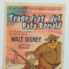Cine: TRAGEDIAS DEL PATO DONALD WALT DISNEY PROGRAMA DE CINE SIN PUBLICIDAD. Lote 211462721