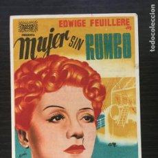 Cine: MUJER SIN RUMBO - PROGRAMA DE CINE BADALONA 1943 C/P. Lote 211481760