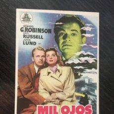 Cine: MIL OJOS TIENE LA NOCHE - PROGRAMA DE CINE BADALONA C/P 1951. Lote 211482341