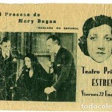 Cine: EL PROCESO DE MARY DUGAN. PROGRAMA DOBLE. TEATRO PRINCIPAL, DE ALCOY. Lote 211564085