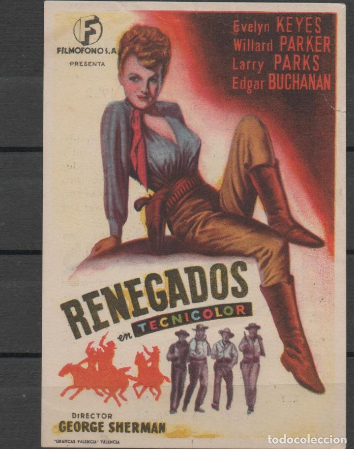 PROGRAMA DE MANO DE LA PELÍCULA RENEGADOS EN EL TEATRO PRINCIPAL DE REINOSA DEL AÑO 1952 (Cine - Folletos de Mano - Westerns)