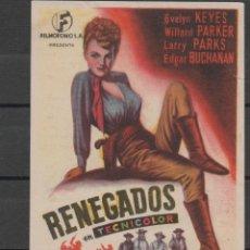 Cine: PROGRAMA DE MANO DE LA PELÍCULA RENEGADOS EN EL TEATRO PRINCIPAL DE REINOSA DEL AÑO 1952. Lote 211569365