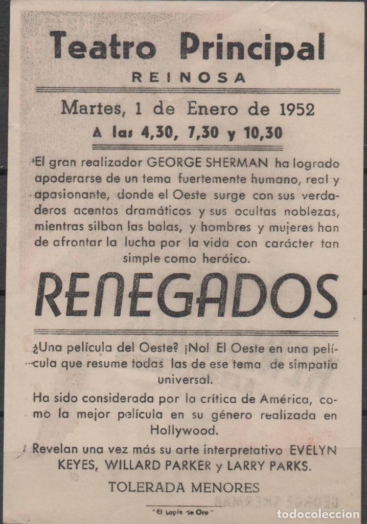 Cine: PROGRAMA DE MANO DE LA PELÍCULA RENEGADOS EN EL TEATRO PRINCIPAL DE REINOSA DEL AÑO 1952 - Foto 2 - 211569365