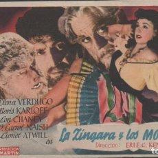 Cine: PROGRAMA DE MANO DE PELÍCULA LA SINGARA Y LOS MONSTRUOS EL TEATRO PRINCIPAL DE REINOSA DEL AÑO 1949. Lote 211573586
