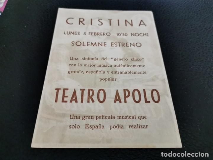 Cine: PROGRAMA DE MANO ORIG - TEATRO APOLO - CINE CRISTINA - Foto 2 - 211580265
