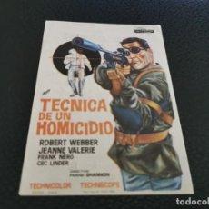 Cine: PROGRAMA DE MANO ORIG - TÉCNICA DE UN HOMICIDIO - CINE DE ALICANTE. Lote 211580315