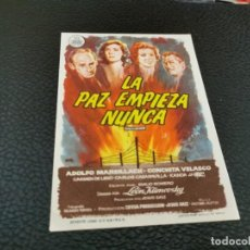 Cine: PROGRAMA DE MANO ORIG - LA PAZ EMPIEZA NUNCA - CINE DE ZARAGOZA. Lote 211590310