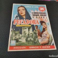Cine: PROGRAMA DE MANO ORIG - LA PECADORA - CINE DE ZARAGOZA. Lote 211590409