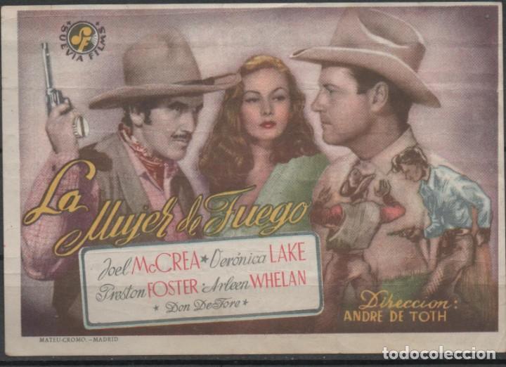 PROGRAMA DE MANO DE LA PELÍCULA LA MUJER DE FUEGO EN EL TEATRO PRINCIPAL DE REINOSA DEL AÑO 1952 (Cine - Folletos de Mano - Westerns)