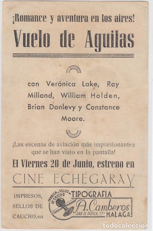 Cine: Vuelo de aguilas. Folleto de mano. Sencillo con publicidad. Cine Echegaray. Málaga. - Foto 2 - 211680246