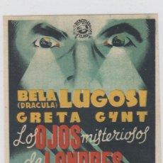 Cine: LOS OJOS MISTERIOROS DE LONDRES. FOLLETO DE MANO. SENCILLO SIN PUBLICIDAD.. Lote 211689566