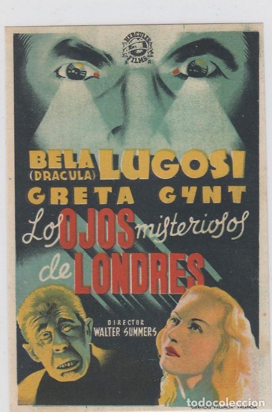 LOS OJOS MISTERIOROS DE LONDRES. FOLLETO DE MANO. SENCILLO SIN PUBLICIDAD. (Cine - Folletos de Mano - Terror)