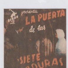 Cine: LA PUERTA DE LAS SIETE CERRADURAS. FOLLETO DE MANO. DOBLE CON PUBLICIDAD. CINE MUNICIPAL.. Lote 211695979