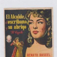 Cine: EL ALCALDE, EL ESCRIBANO Y SU ABRIGO. FOLLETO DE MANO. SENCILLO SIN PUBLICIDAD.. Lote 211810206
