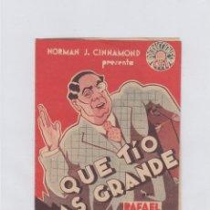 Cine: QUE TÍO MAS GRANDE. FOLLETO DE MANO. DOBLE SIN PUBLICIDAD.. Lote 211811558