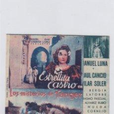 Cine: LOS MISTERIOS DE TANGER. FOLLETO DE MANO. DOBLE CON PUBLICIDAD.CINE MUNICIPAL. CÁDIZ.. Lote 211812361