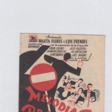 Cine: MELODIAS PROHIBIDAS. FOLLETO DE MANO. DOBLE CON PUBLICIDAD. GRAN TEATRO FALLA. CÁDIZ.. Lote 211817781