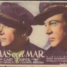 Folhetos de mão de filmes antigos de cinema: PROGRAMA SENCILLO DE ALMAS EN EL MAR (1937), CON GARY COOPER, GEORGE RAFT Y FRANCES DEE. Lote 211863980