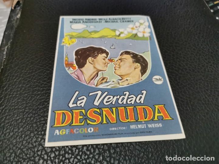 PROGRAMA DE MANO ORIG - LA VERDAD DESNUDA- CINE DE ORIHUELA (Cine - Folletos de Mano - Drama)