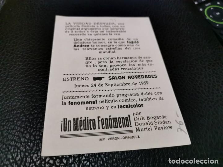 Cine: PROGRAMA DE MANO ORIG - LA VERDAD DESNUDA- CINE DE ORIHUELA - Foto 2 - 211864348