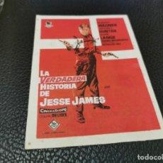 Cine: PROGRAMA DE MANO ORIG - LA VERDADERA HISTORIA DE JESSE JAMES - CINE MODERNO. Lote 211864466