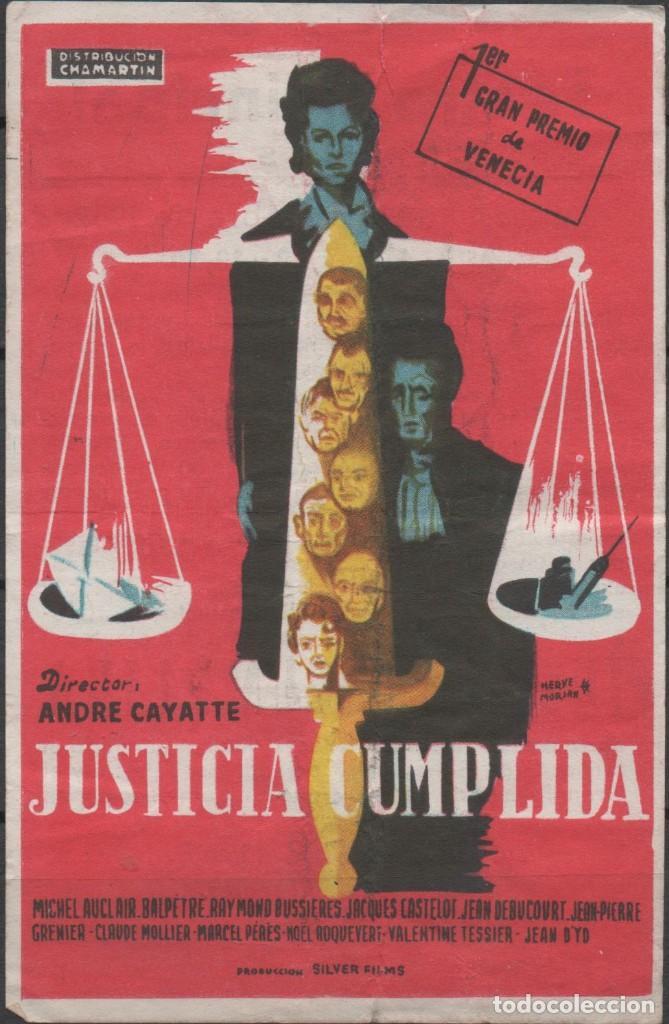 PROGRAMA DE MANO DE LA PELÍCULA JUSTICIA CUMPLIDA EN EL TEATRO PRINCIPAL DE REINOSA DEL AÑO 1952 (Cine - Folletos de Mano - Drama)