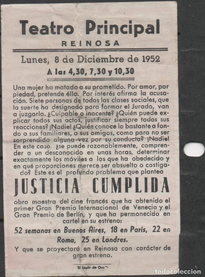 Cine: PROGRAMA DE MANO DE LA PELÍCULA JUSTICIA CUMPLIDA EN EL TEATRO PRINCIPAL DE REINOSA DEL AÑO 1952 - Foto 2 - 211960762