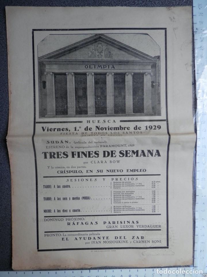 PROGRAMA DE CINE CARTEL: SUDÁN Y TRES FINES DE SEMANA - PARAMOUNT AÑO 1929 HUESCA (Cine - Folletos de Mano - Drama)