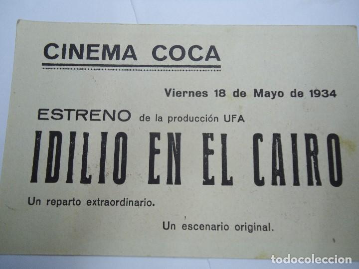 Cine: IDILIO EN EL CAIRO VIERNES 18 DE MAYO DE 1934 PUBLICIDAD DEL CINEMA COCA dirigida por CLAUDE HEYMANN - Foto 2 - 212002061