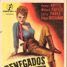 Cine: RENEGADOS, VER DORSO CON PUBLICIDAD DEL CINE ADRIANO DEL FERROL DEL CAUDILLO. Lote 212095811