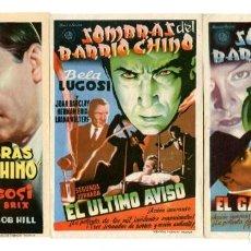 Folhetos de mão de filmes antigos de cinema: SOMBRAS DEL BARRIO CHINO, CON BELA LUGOSI. 3 JORNADAS.. Lote 212288330