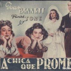 Folhetos de mão de filmes antigos de cinema: PROGRAMA DOBLE DE UNA CHICA QUE PROMETE (1941), CON JOAN BENNETT Y FRANCHOT TONE. Lote 212291068