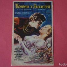 Foglietti di film di film antichi di cinema: FOLLETO DE MANO PROGRAMA DE CINE ROMEO Y JULIETA CON PUBLICIDAD LOTE 65 MIRAR FOTOS. Lote 212355043