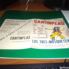 Cine: PROGRAMA DE CINE DOBLE. LOS TRES MOSQUETEROS. CANTINFLAS. TEATRO MENACHO DE BADAJOZ. AÑOS 40. Lote 212370695