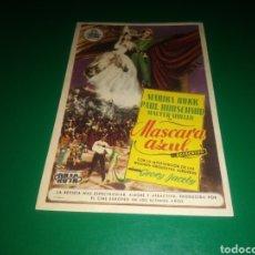 Foglietti di film di film antichi di cinema: PROGRAMA DE CINE SIMPLE. MÁSCARA AZUL. CINE PLAZA DE TOROS DE BADAJOZ. AÑOS 40. Lote 212385426