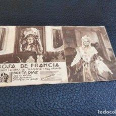 Cine: PROGRAMA DE MANO ORIG TARJETA - ROSA DE FRANCIA -CINE DE ALMANSA 1936. Lote 212623938