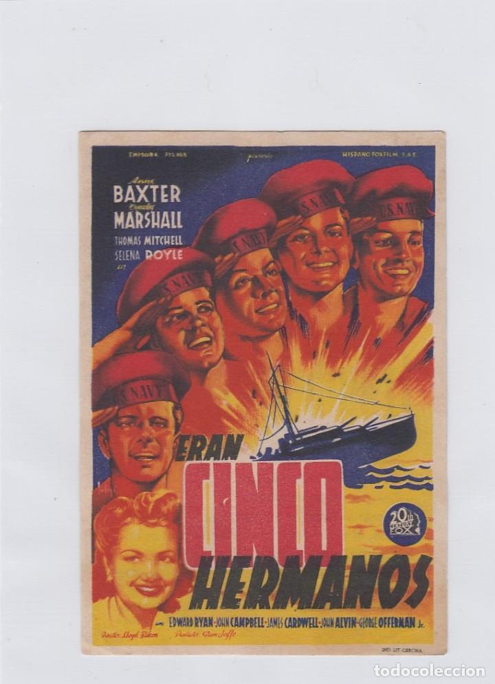 ERAN CINCO HERMANOS. PROGRAMA DE CINE. SENCILLO CON PUBLICIDAD. GRAN CINE CENTRAL. (Cine - Folletos de Mano - Bélicas)