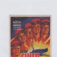 Cine: ERAN CINCO HERMANOS. PROGRAMA DE CINE. SENCILLO CON PUBLICIDAD. GRAN CINE CENTRAL.. Lote 212669053