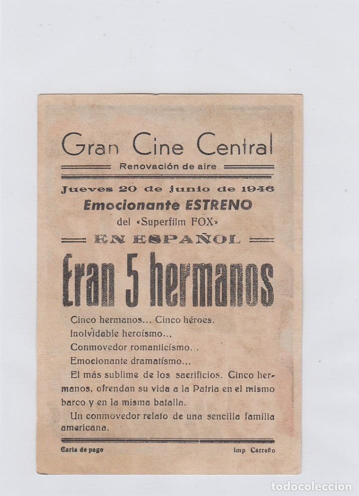 Cine: Eran cinco hermanos. Programa de cine. Sencillo con publicidad. Gran cine central. - Foto 2 - 212669053